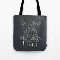 "dumbledore Tote Bags featuring Harry Potter - Albus Dumbledore quote ""Happiness""  by SimpleSerene"