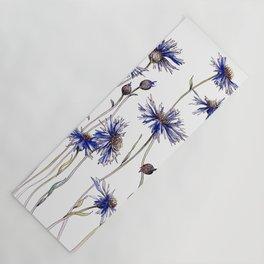 Blue Cornflowers, Illustration Yoga Mat