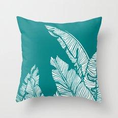 Banana Leaves on Teal #society6 #decor #buyart Throw Pillow