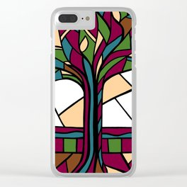 Stained Glass Tree Design - Burgundy Clear iPhone Case