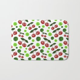 Cherries on white Bath Mat