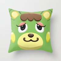 animal crossing Throw Pillows featuring Animal Crossing Charlise by ZiggyPasta