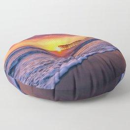 Sunset & Foamy Wave Floor Pillow