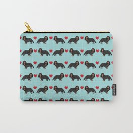 Cavalier King Charles Spaniel black and tan valentines day love hearts dog breed patterns gifts Carry-All Pouch