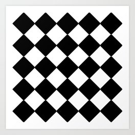 Black and white rhombus Art Print