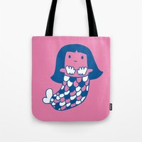 little mermaid Tote Bags featuring Little mermaid by tee and toast