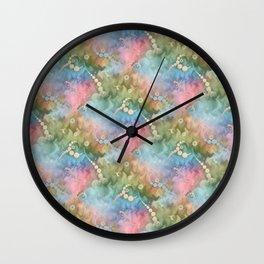 Satin Rainbow Pastel Floral Wall Clock