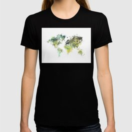 world map 88 art green T-shirt