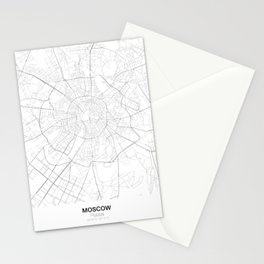 Moscow, Russia Minimalist Map Stationery Cards