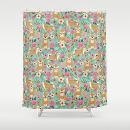 Shiba inu mint florals cute flowers dog breed must have gifts for pet dog lover unique dog breed art Shower Curtain