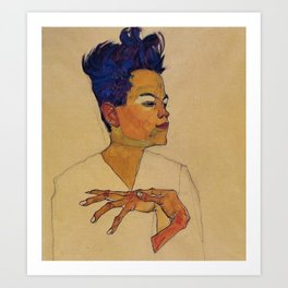 SELF PORTRAIT WITH HANDS ON CHEST - EGON SCHIELE Art Print