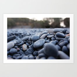Summertime pebbles in Chios island Art Print
