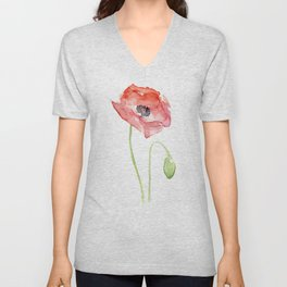 Red Poppy Watercolor Flower Floral Abstract Unisex V-Neck