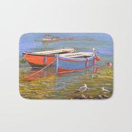 Blue And Orange Boats At The Harbor Bath Mat