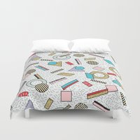 toddler Duvet Covers featuring Modern Memphis Inspired Geometric Gold Pattern by Season of Victory
