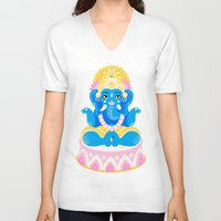 ganesha V-neck T-shirts featuring Ganesha by Pranatheory