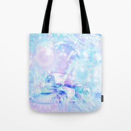Old car in pink and blue space Tote Bag