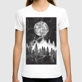 marble black and white landscape T-shirt