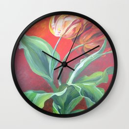 Red and Yellow Tulips Wall Clock