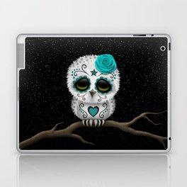 Adorable Teal Blue Day of the Dead Sugar Skull Owl Laptop & iPad Skin