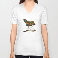 eames V-neck T-shirts featuring Eames Rocker by Ruby