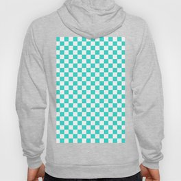 White and Turquoise Checkerboard Hoody