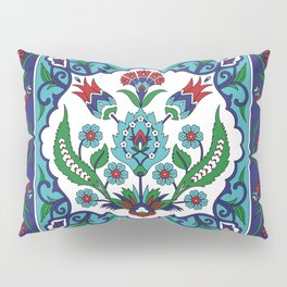 Turkish Tile Pattern – Vintage iznik ceramic with tulips Pillow Sham