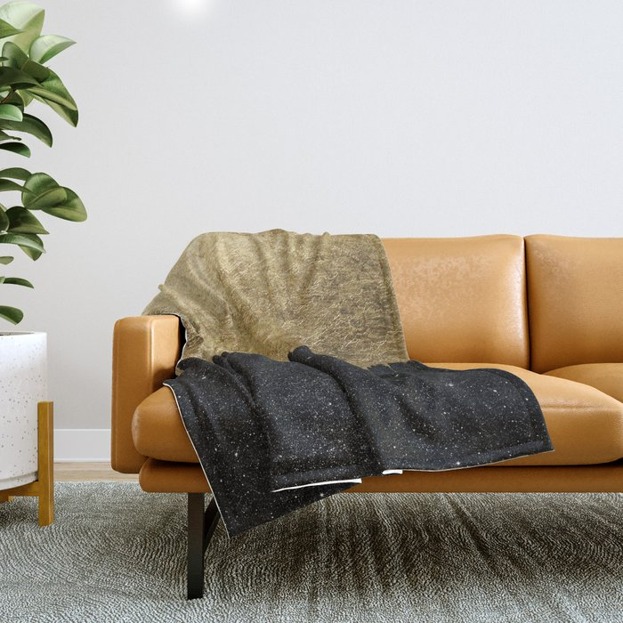 Faux Gold and Black Starry Night Brushstrokes Throw Blanket