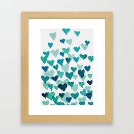 Valentine's Day Watercolor Hearts - turquoise Framed Art Print