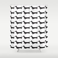 dachshund Shower Curtains featuring Dachshund by Andrea Raths