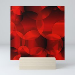 Abstract soap  of red molecules and bubbles on a bloody background. Mini Art Print