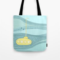 yellow submarine Tote Bags featuring Yellow Submarine by Anita Ivancenko