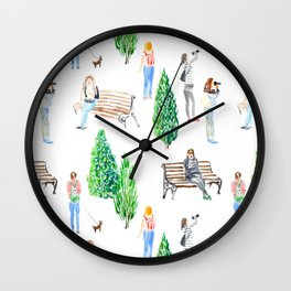 girls in the park pattern Wall Clock