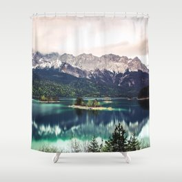 Green Blue Lake and Mountains - Eibsee, Germany Shower Curtain