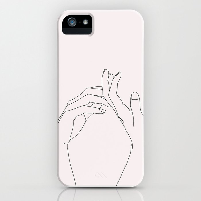 hands line drawing illustration - abi natural iphone case