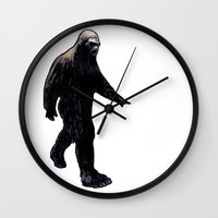 bigfoot Wall Clocks featuring Bigfoot by Zombie Rust