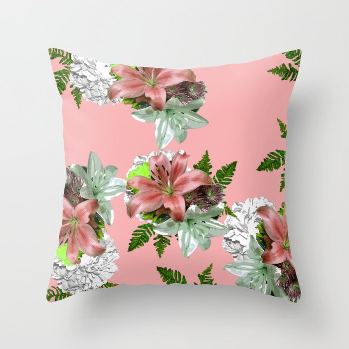 Lily Pink And White Flower Throw Pillow By Saundramyles Society6