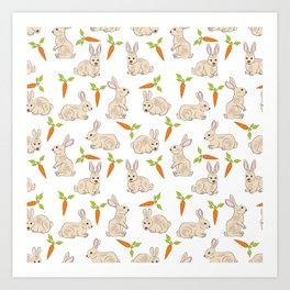 Cute Rabbit Neck Gator Carrot Bunny Art Print