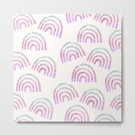 Unicorn Girls Glitter Rainbow Dream Pattern #1 (Faux Glitter) #decor #art #society6 Metal Print