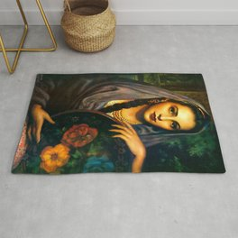 Jesus Helguera Painting of a Calendar Girl with Dark Shawl Rug
