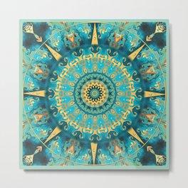 Caribbean Gold Mandala Metal Print