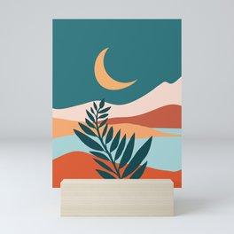 Moonlit Mediterranean / Maximal Mountain Landscape Mini Art Print
