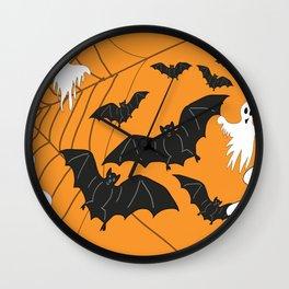 Flying Ghosts & Bats Halloween orange Wall Clock