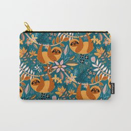 Happy Boho Sloth Floral Carry-All Pouch
