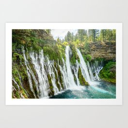 Burney Falls Spring Northern California Waterfall Landscape Art Print