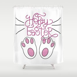 Hoppy Easter Bunny Feet and Whiskers Shower Curtain