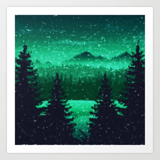 Snowing in the forest Art Print