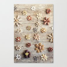 Dried fruits arranged forming flowers Canvas Print