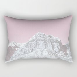Mojave Pink Sky // Red Rock Canyon Las Vegas Desert Landscape Snowstorm Moon Mountains Rectangular Pillow