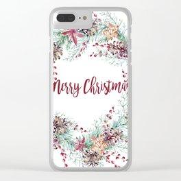 Xmas Wreath White Clear iPhone Case